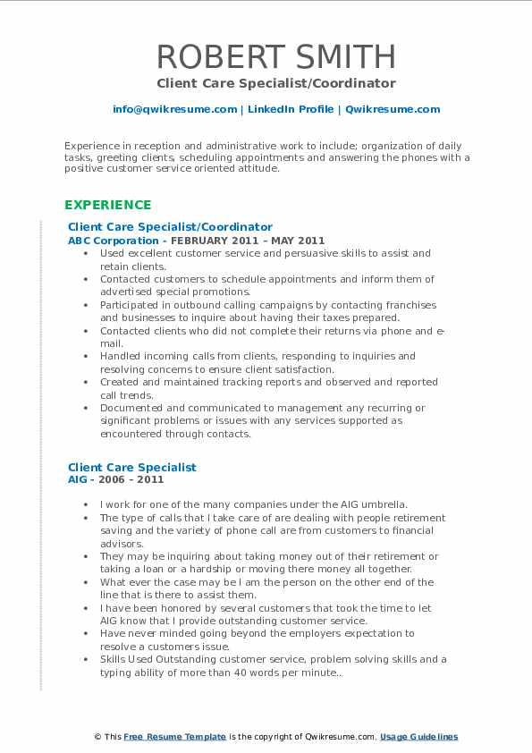 Client Care Specialist/Coordinator Resume Template