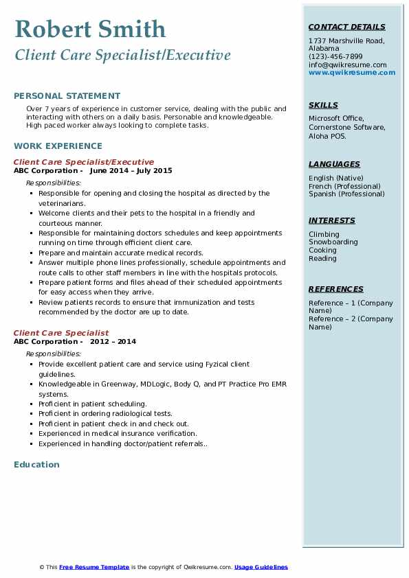 Client Care Specialist/Executive Resume Format