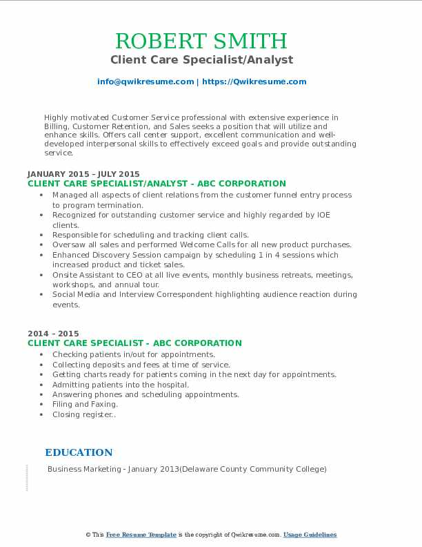 Client Care Specialist/Analyst Resume Template