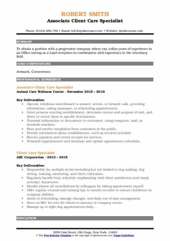 Associate Client Care Specialist Resume Model
