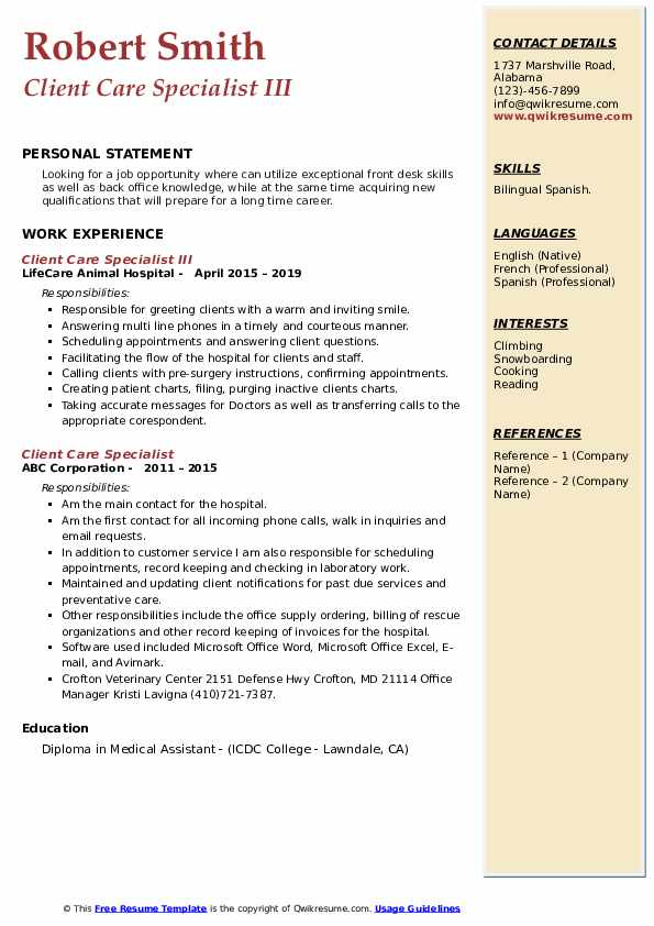 Client Care Specialist III Resume Example