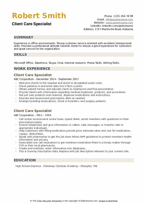 Client Care Specialist Resume example