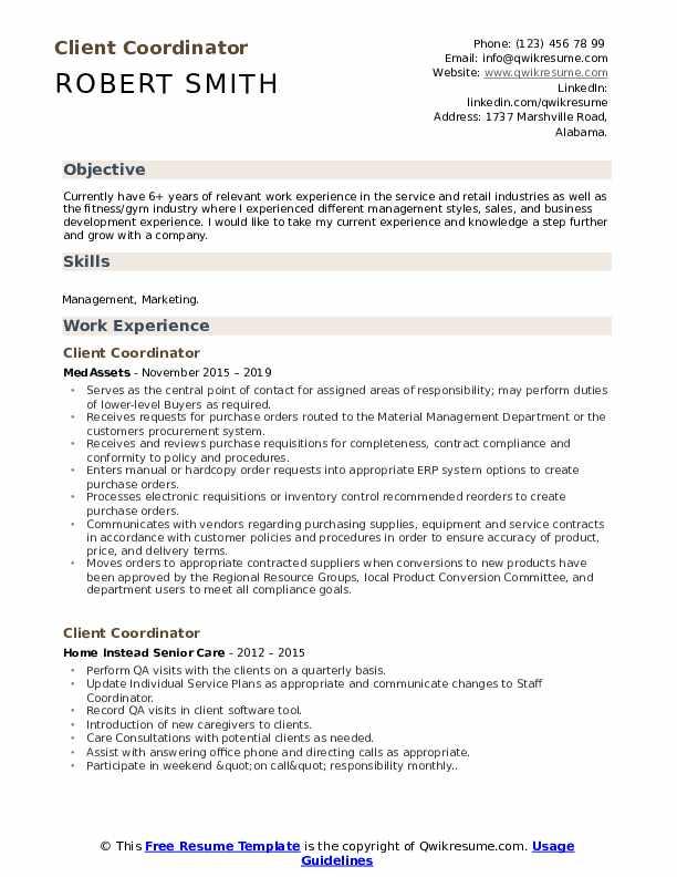 Client Coordinator Resume Template