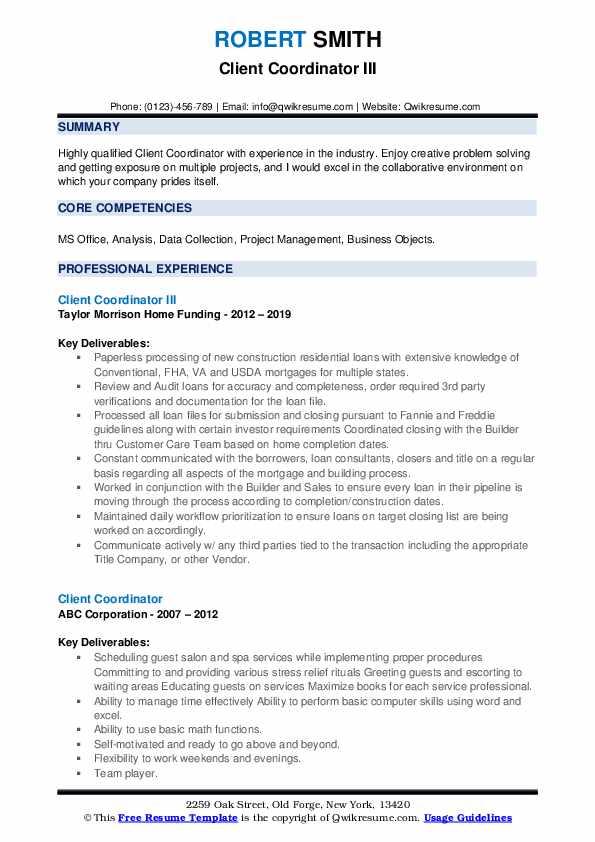 Client Coordinator III Resume Sample