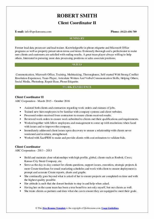 Client Coordinator II Resume Example