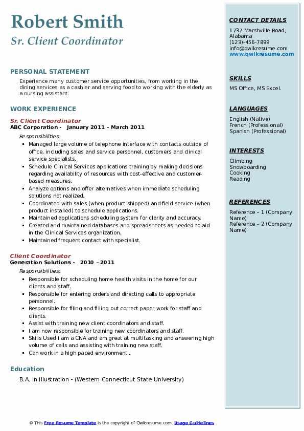 Sr. Client Coordinator Resume Model