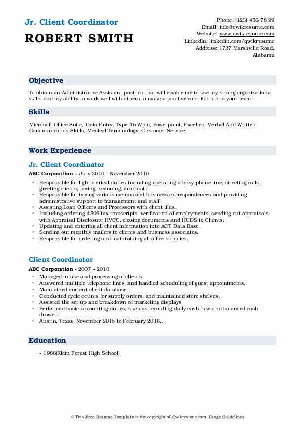 Jr. Client Coordinator Resume Format