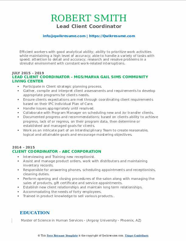Lead Client Coordinator Resume Template