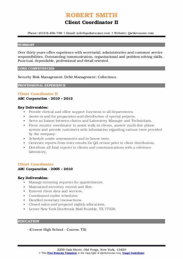 Client Coordinator II Resume Model