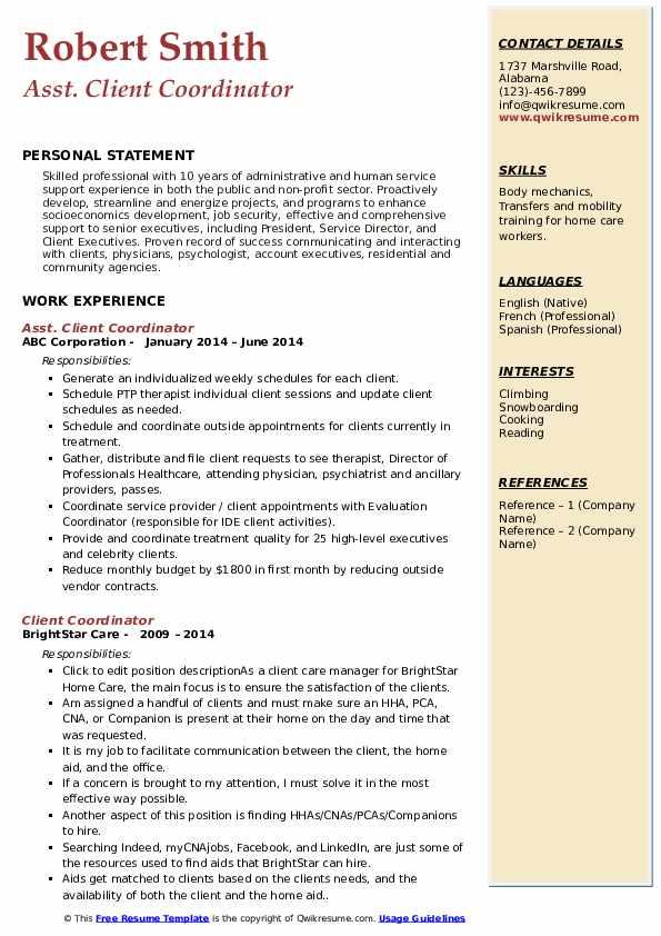 Asst. Client Coordinator Resume Sample