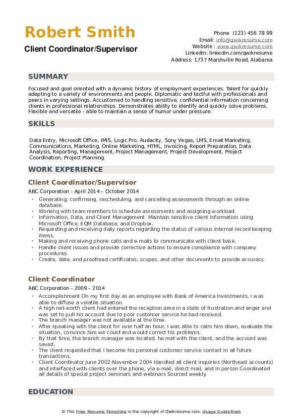 Client Coordinator/Supervisor Resume Model