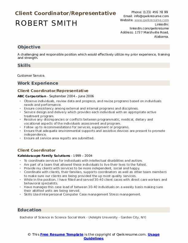 Client Coordinator/Representative Resume Model