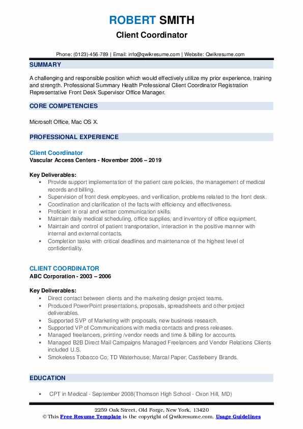 Client Coordinator Resume example