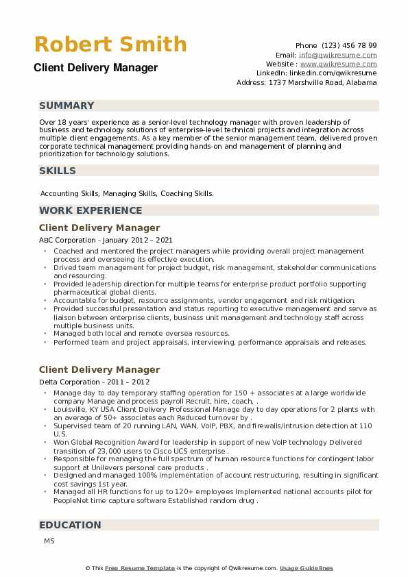 Client Delivery Manager Resume example
