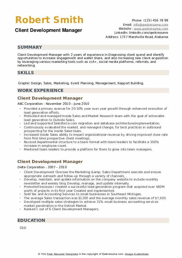 Client Development Manager Resume example