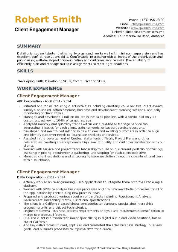 Client Engagement Manager Resume example