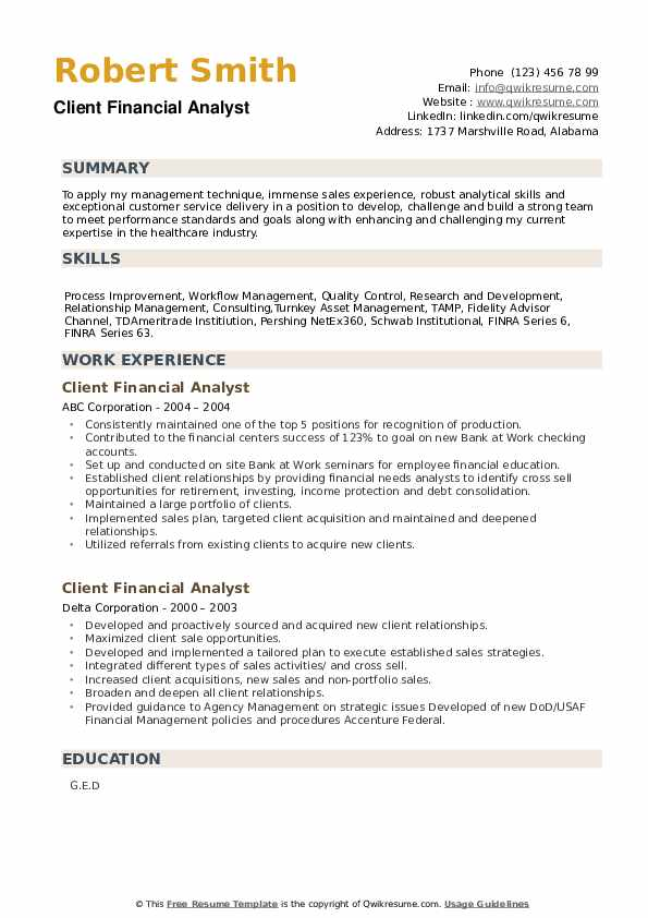 Client Financial Analyst Resume example