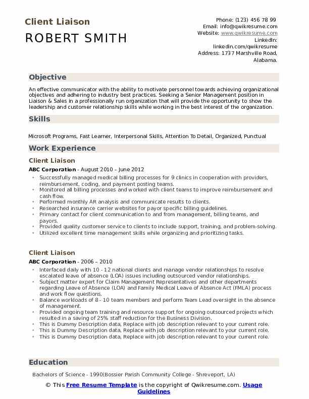 Client Liaison Resume example