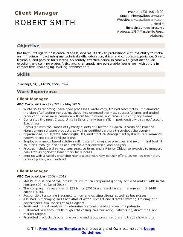 Client Manager Resume Model