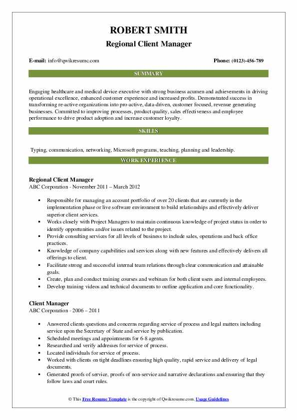 Regional Client Manager Resume Template