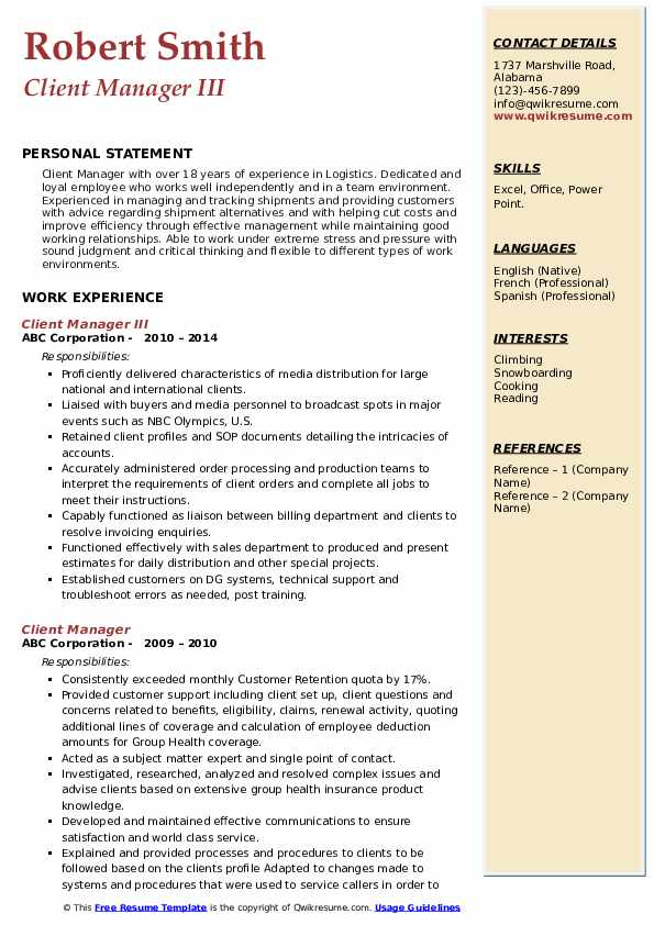 Client Manager III Resume Template