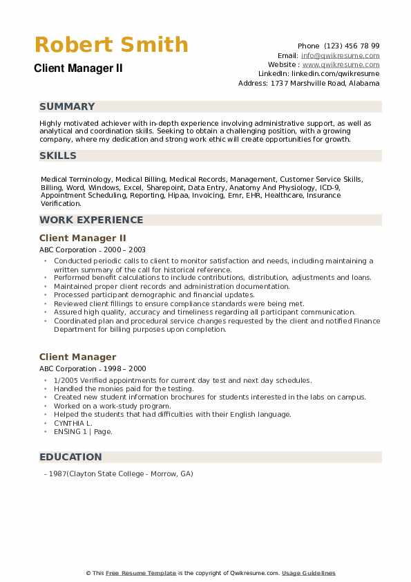 Client Manager II Resume Example