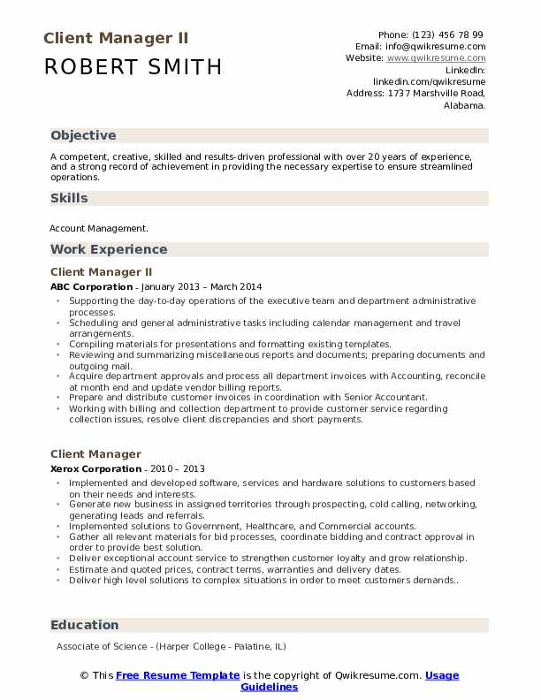 Client Manager II Resume Model