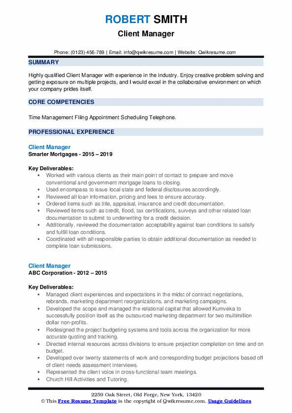 Client Manager Resume example