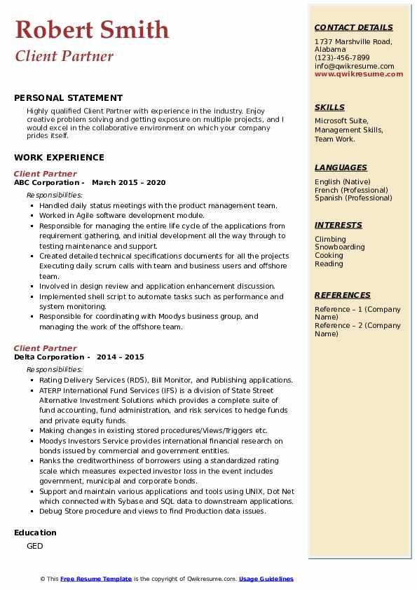 client partner resume samples  qwikresume