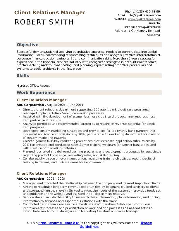 Client Relations Manager Resume Samples Qwikresume