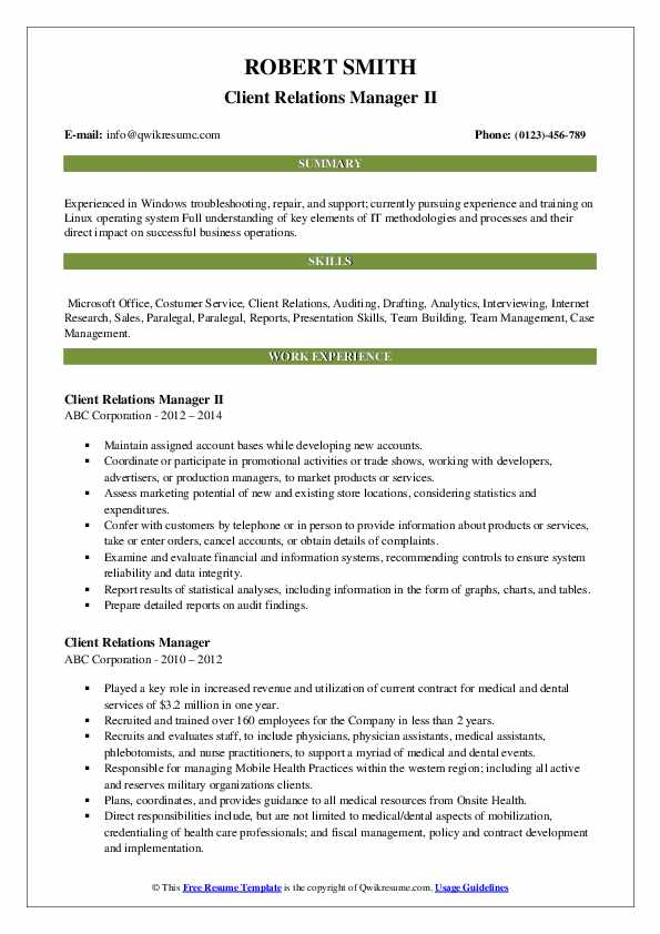 Client Relations Manager II Resume Format