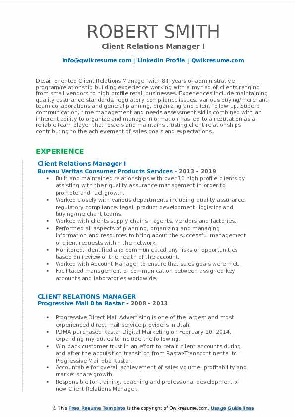 Client Relations Manager I Resume Model