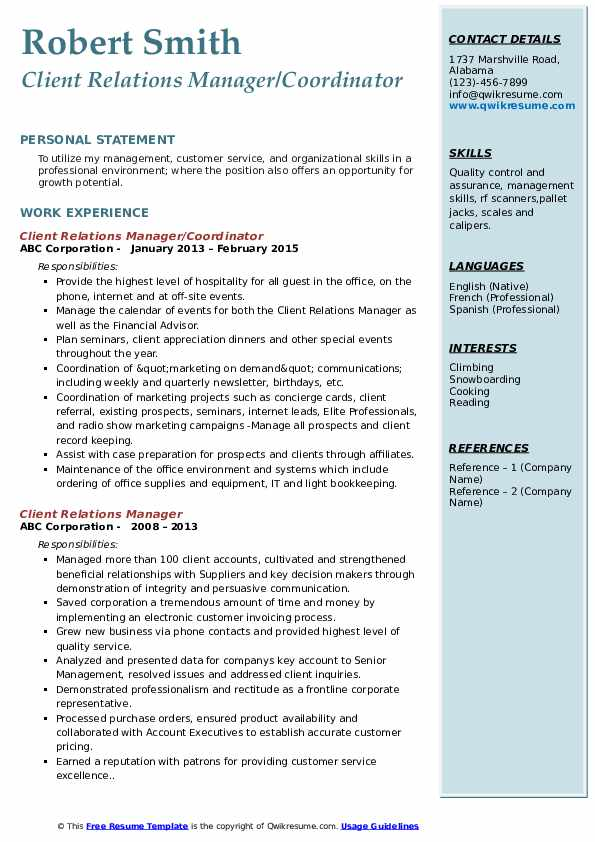 Client Relations Manager/Coordinator Resume Sample