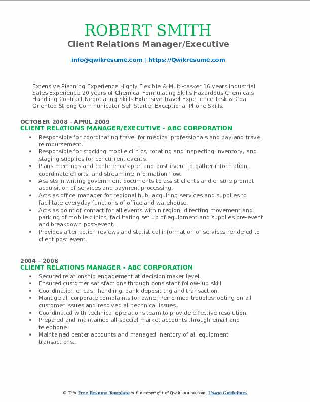Client Relations Manager/Executive Resume Model