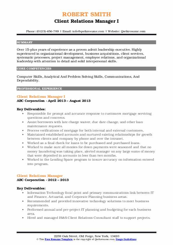 Client Relations Manager I Resume Format