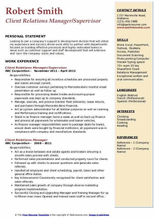 Client Relations Manager/Supervisor Resume Sample