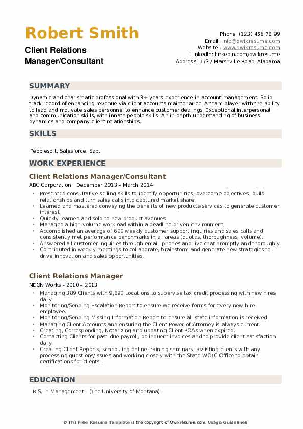 Client Relations Manager/Consultant Resume Format