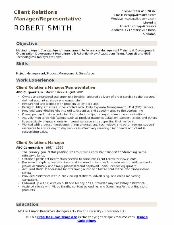 Client Relations Manager/Representative Resume Format