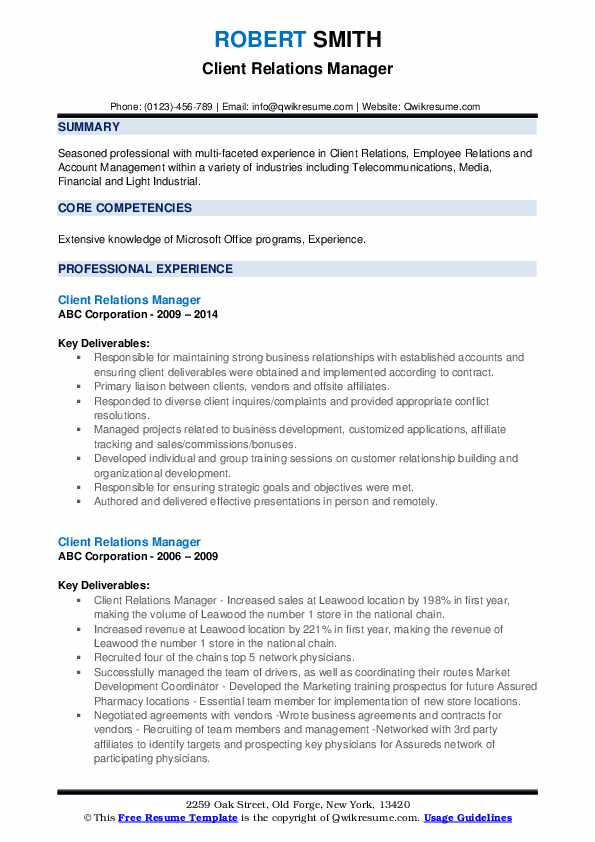 Client Relations Manager Resume example