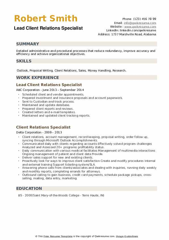 Client Relations Specialist Resume example