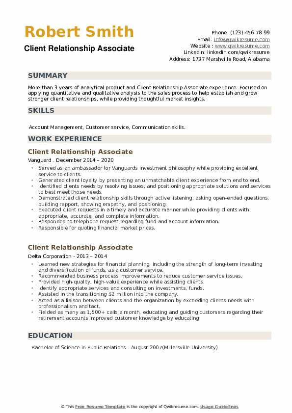 Client Relationship Associate Resume example
