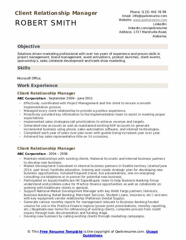 client relationship manager resume samples