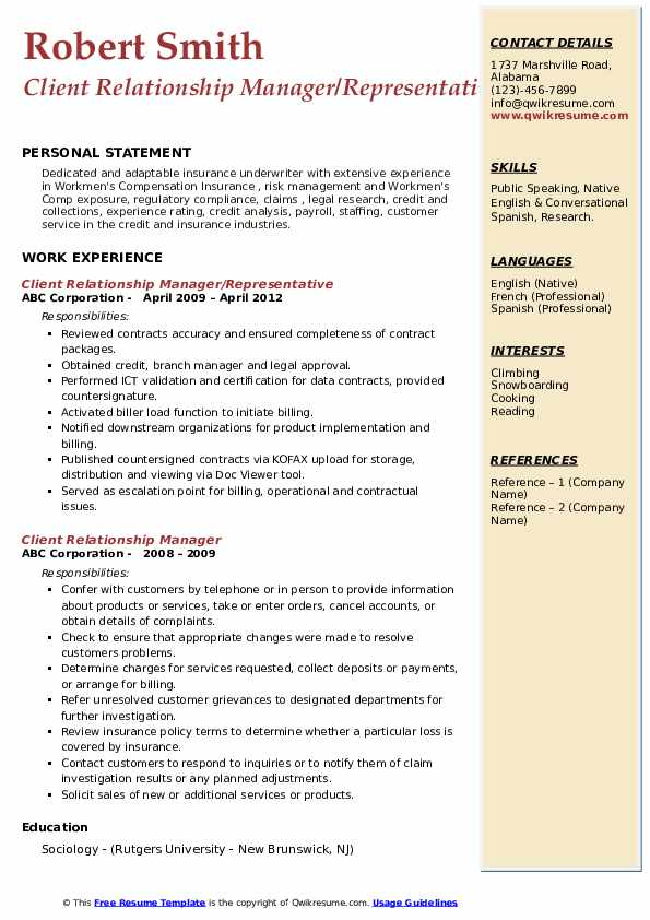 client relationship manager resume samples  qwikresume