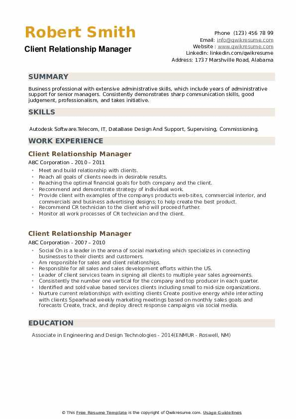 Client Relationship Manager Resume example