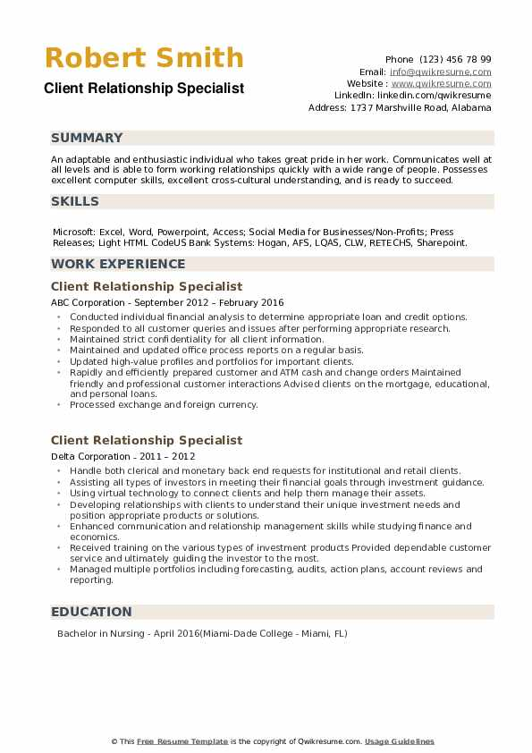 Client Relationship Specialist Resume example