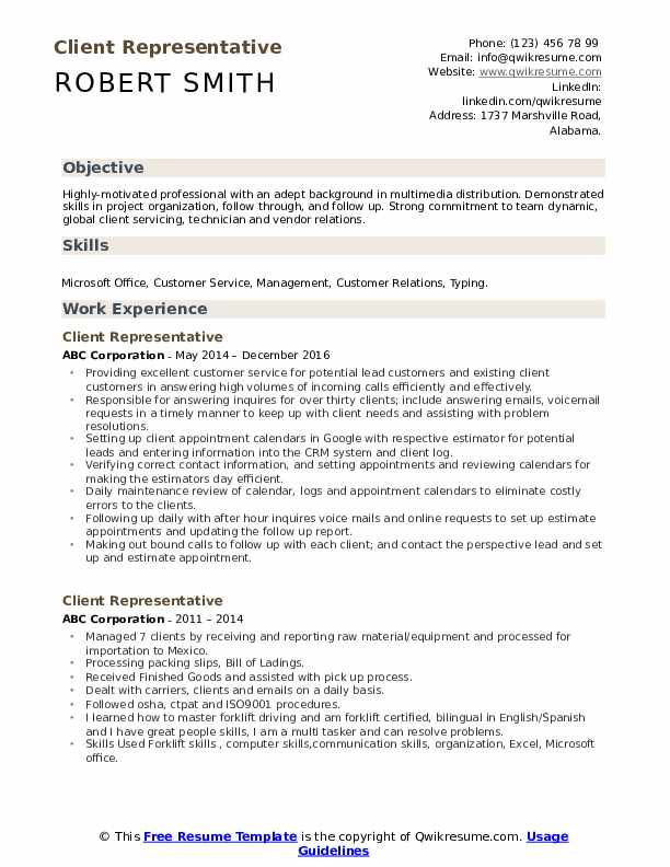Client Representative Resume Sample