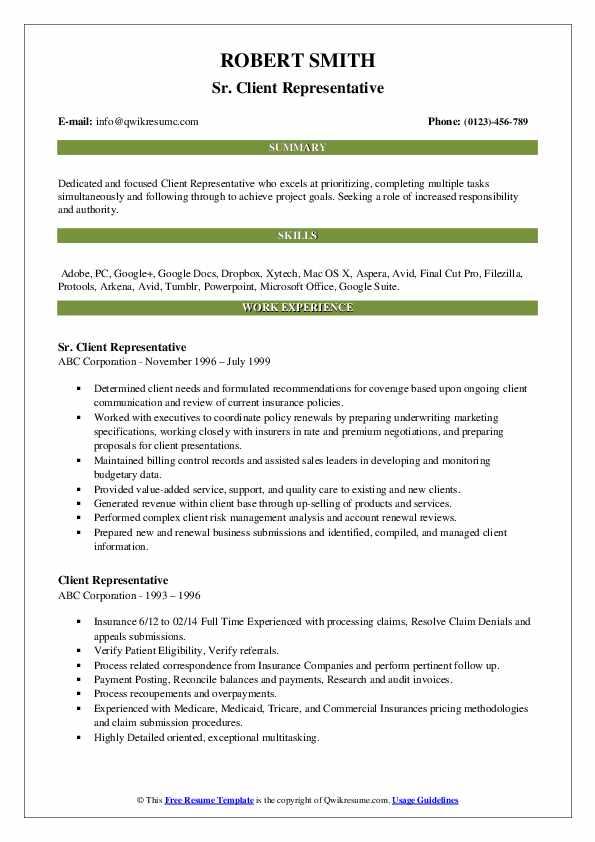 Sr. Client Representative Resume Example