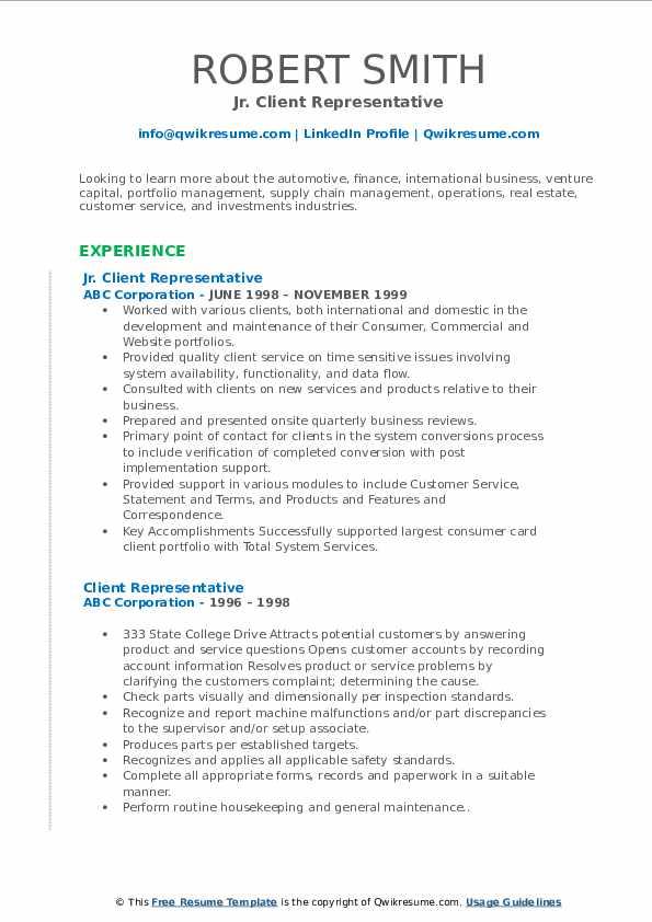 Jr. Client Representative Resume Model