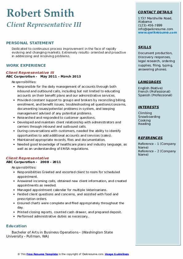 Client Representative III Resume Sample