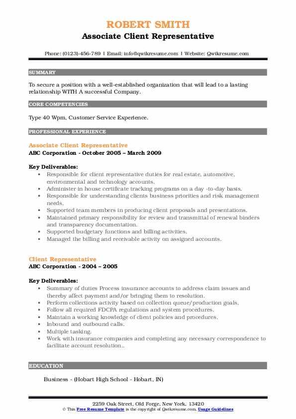 Associate Client Representative Resume Sample